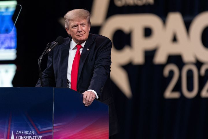 President Donald Trump speaks Sunday at the Conservative Political Action Conference in Dallas. He again said that the 2020 e