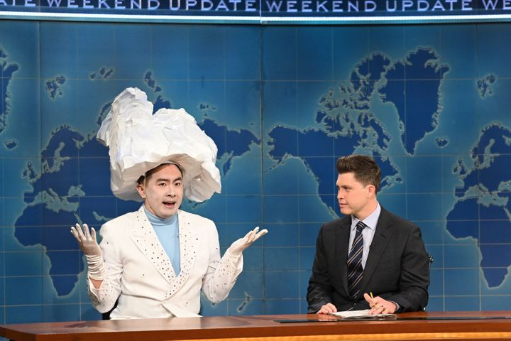 """Bowen Yang (left) as """"The Iceberg That Sank The Titanic"""" and Colin Jost on """"Saturday Night Live"""" in April."""