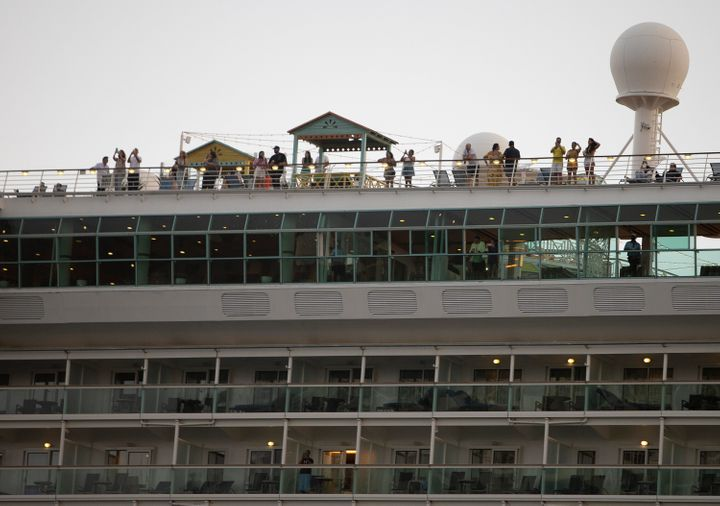 The Royal Caribbean Freedom of the Seas is seen in Miami on June 20. The cruise ship set sail with employee volunteers in ord