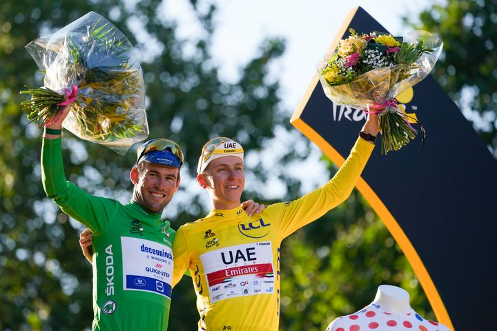 Tadej Pogacar, who won the yellow jersey of the overall leader, the best climber's dotted jersey and the best young rider's w