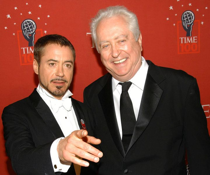 Actor Robert Downey Jr., left, and his father Robert Downey Sr. arrive at Time's 100 Most Influential People in the World Gal