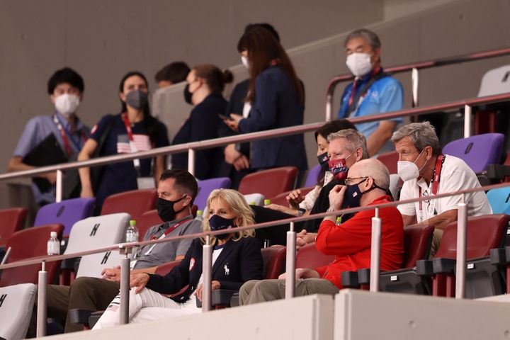 First lady Jill Biden watches the U.S. beat New Zealand at the Tokyo Olympics on Saturday.