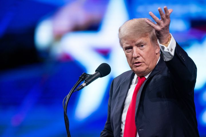 Former US President Donald Trump speaks at the Conservative Political Action Conference (CPAC) in Dallas, Texas on July 11, 2