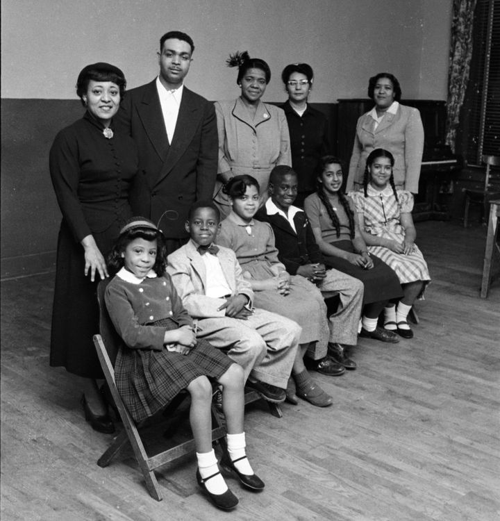 Portrait of the Black students and their parents who initiated Brown v. Board in Topeka, Kansas, 1953. Pictured are, front ro
