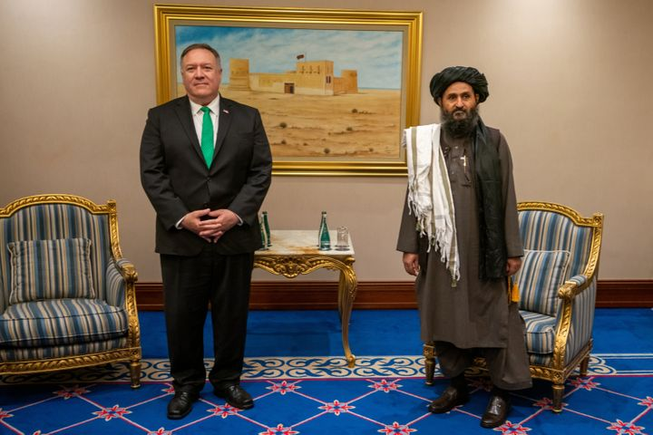 U.S. Secretary of State Mike Pompeo meets with the Taliban political affairs chief Mullah Abdul Ghani Baradar in Doha, Qatar,