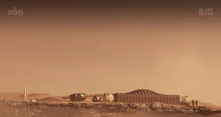 This photo provided by ICON and NASA in August 2021 shows a proposal for the Mars Dune Alpha habitat on Mars.