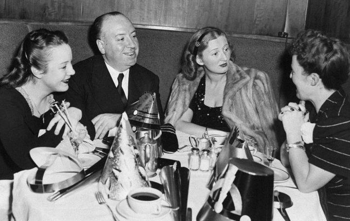 Movie director Alfred Hitchcock is joined by his daughter, Patricia (left); Mrs. Leonard Lyons, wife of the newspaper columni