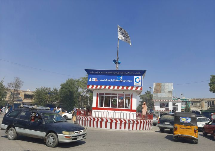 A Taliban flag flies in the main square of Kunduz city after fighting between Taliban and Afghan security forces, in Kunduz,